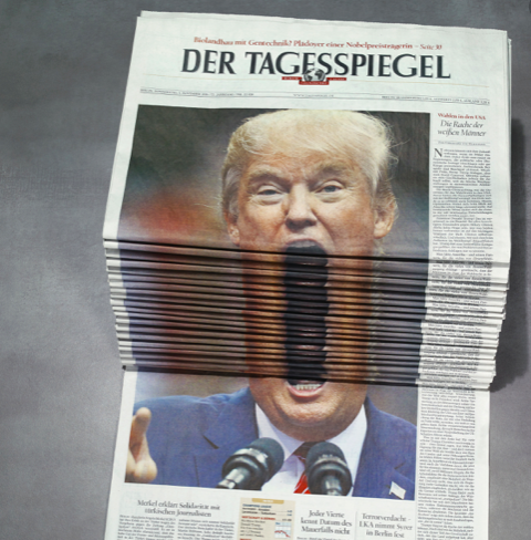 Der Tagesspiegel Newspaper Stack – Trump